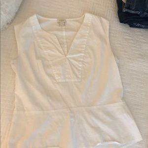White JCrew structured peplum tank